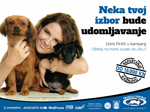 Doris Pinčić in campaign 'Family to the Seaside, Dog to the Street?' [ 377.30 Kb ]